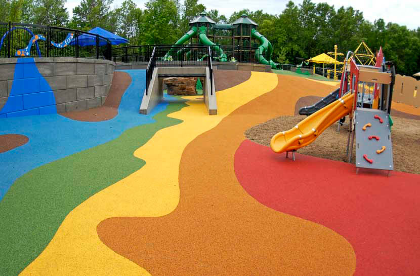 Colorful play area with slide and tunnel