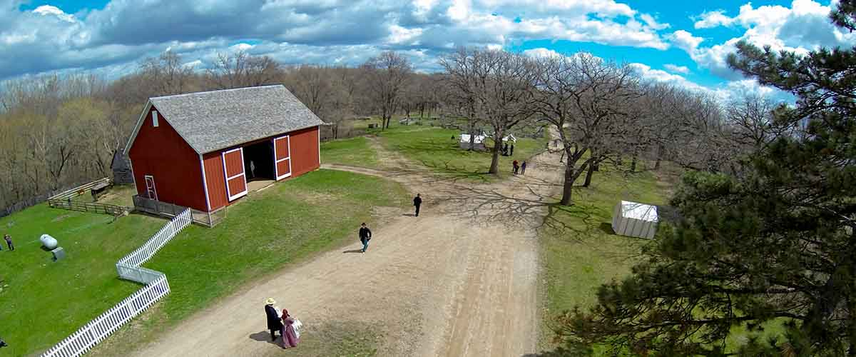 Aerial view of red barn