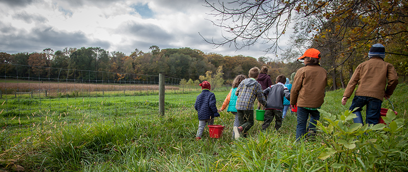 children walking in a field